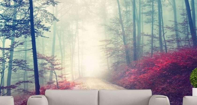 Magical Red Road Wall Mural Misty Forest Tree