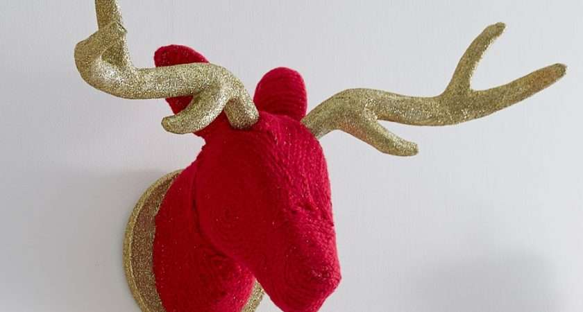 Make Bright Wool Wrapped Stags Head Mache Christmas