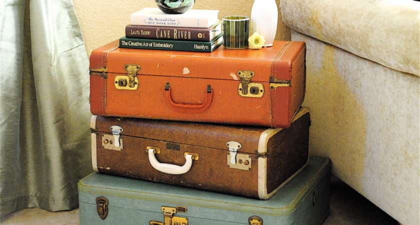 Make Chic Bedside Table Out Colorful Vintage Luggage Also Adding