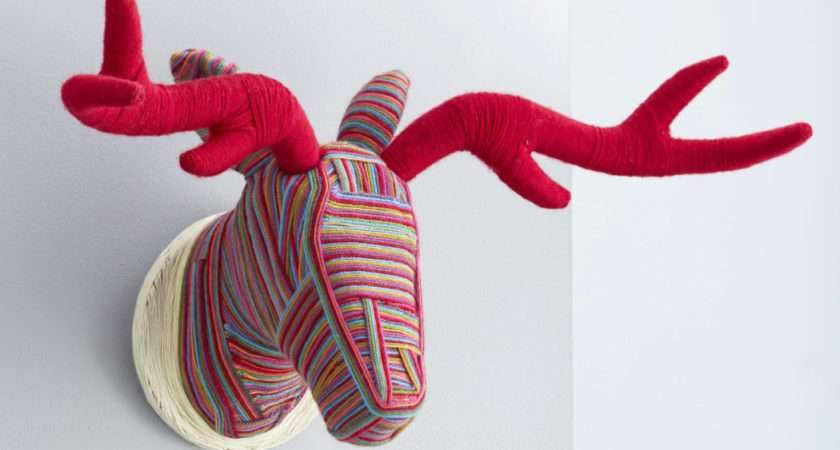 Make Wool Wrapped Stags Head Mache Christmas
