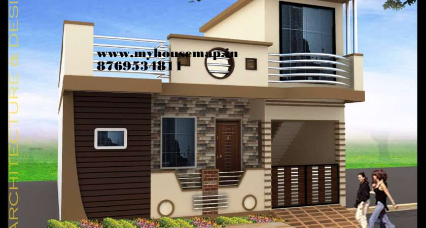 Map India House Elevation Exterior Design