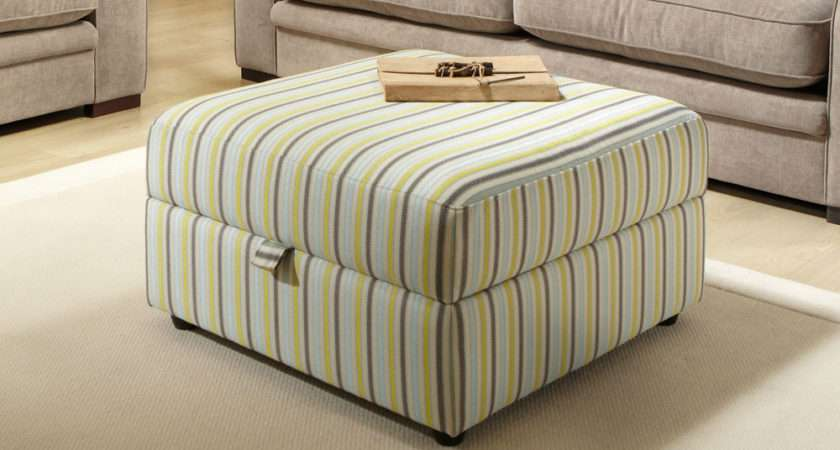 Marsden Fabric Storage Footstool Striped Only Furniture