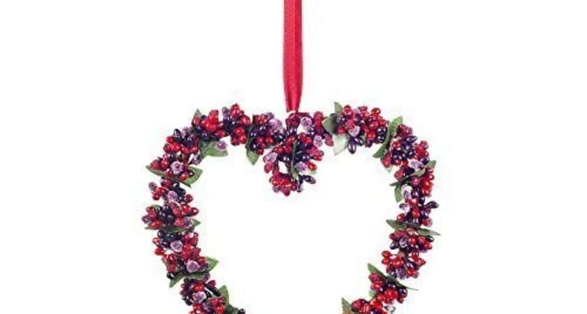 Medium Artificial Frosted Red Berry Hanging Heart