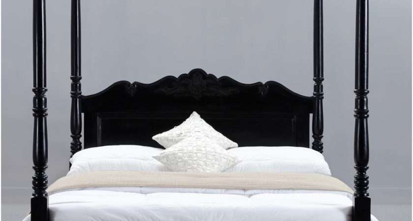 Midnight Solid Wood Four Poster Bed Frame Hand Carved