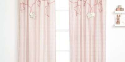 Millie Boris Pink Lined Tie Top Curtains