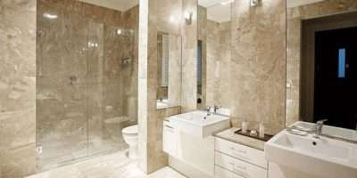 Modern Bathroom Design Twin Basins Using Frameless