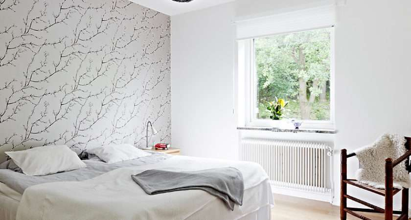 Modern Bedroom One Wall Covered Gray Branches