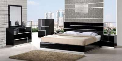 Modern Bedroom Set White Black Leather Luxury Antique