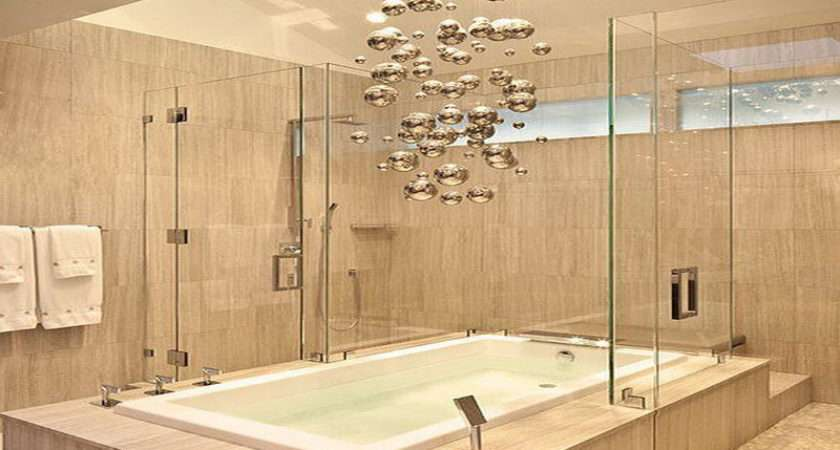 Modern Chandelier Above Bathtub