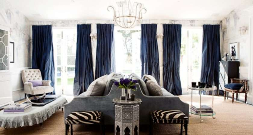 Modern Classic Living Room Gray Blue Curtains Drapes Hand Painted