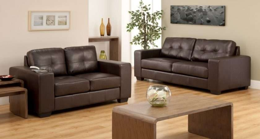 Modern Living Room Furniture Wooden Table Leather Brown Sofas