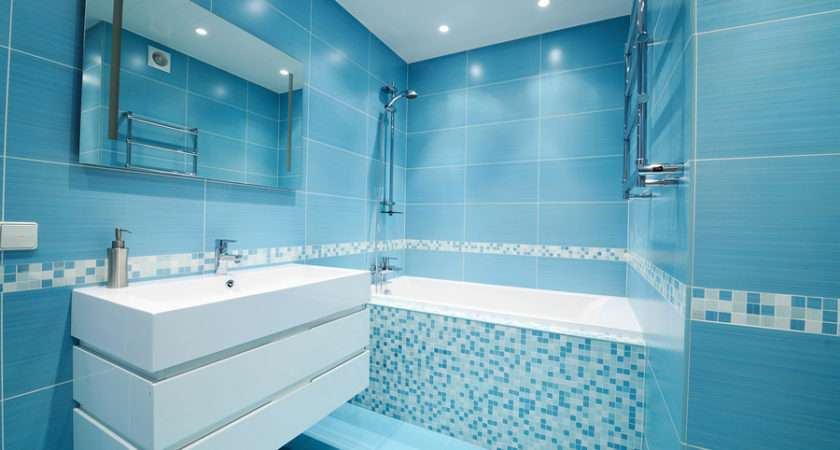 Modern Luxury Bathroom Beautiful Blue Tile Laminate City