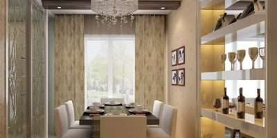 Modern Minimalist Dining Room Design Wine Display Cabinets