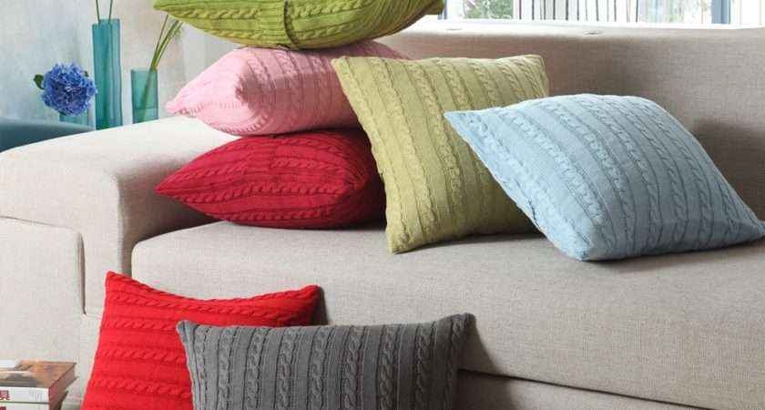 Modern Rainbow Solid Colour Cushion Covers Knitting Wool
