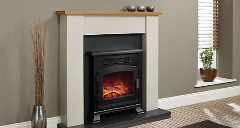 Modern Ravensdale Timber Top Electric Fire Suite