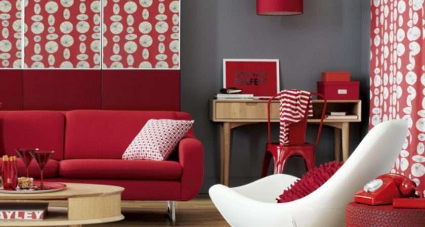 Modern Red Grey Living Room Decorate