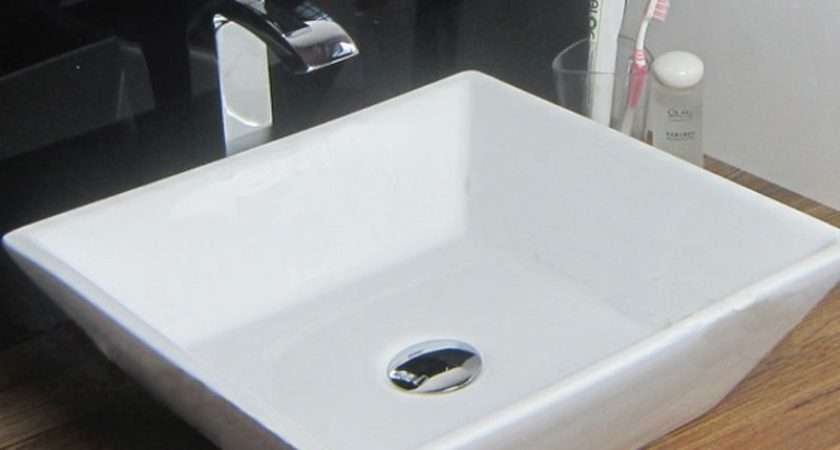 Modern Square Small Hand Wash Countertop Basin Sink Tap Hole