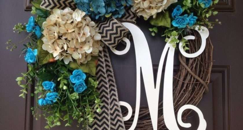 Modern Summer Wreath Front Door Spring Blue