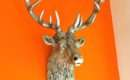 Modern Vintage Silver Stag Wall Trophy Head Large