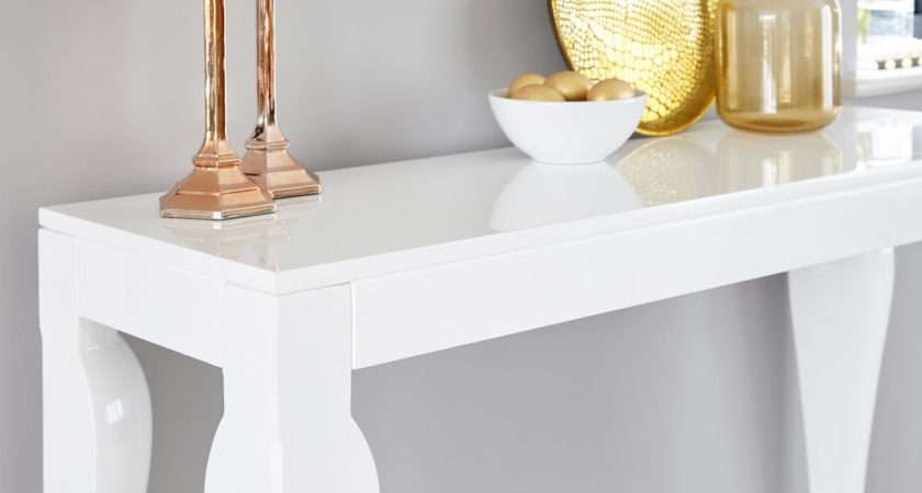 Modern White Gloss Console Table Styling Storage