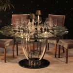 Moderne Chrome Glass Dining Table Town Country Event Rentals