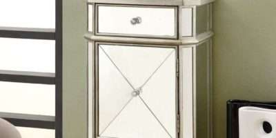 Monarch Specialties Mirrored Drawer Accent Cabinet