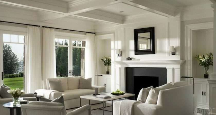 Monochromatic Palette Coffered Ceiling Flanking Built Alcove