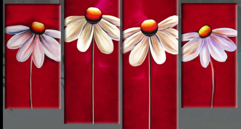 More Information Modern White Daisies Red Floral Daisy Line Panel