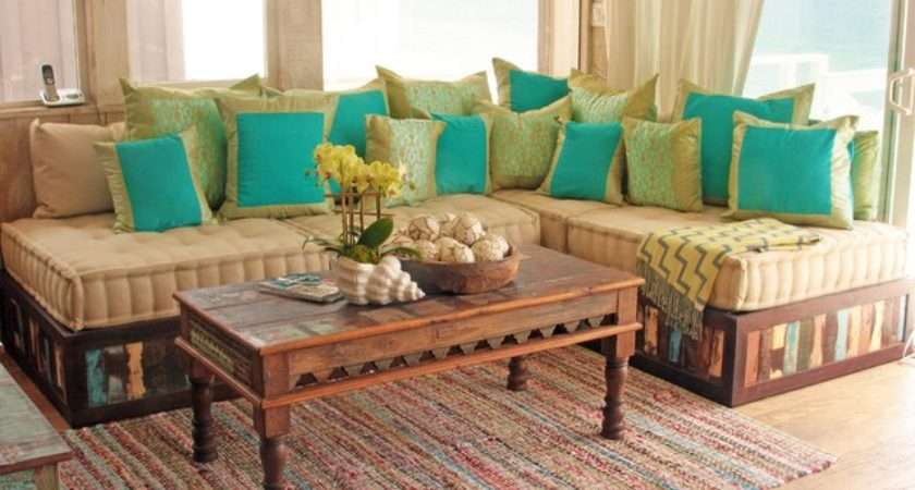 Moroccan Style Sofa Reclaimed Wood Eclectic