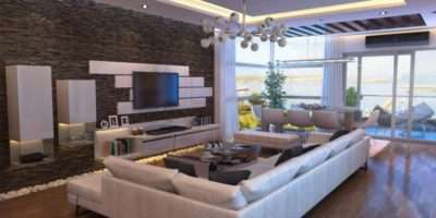 Natural Stone Feature Wall Awesome Living Room Ideas
