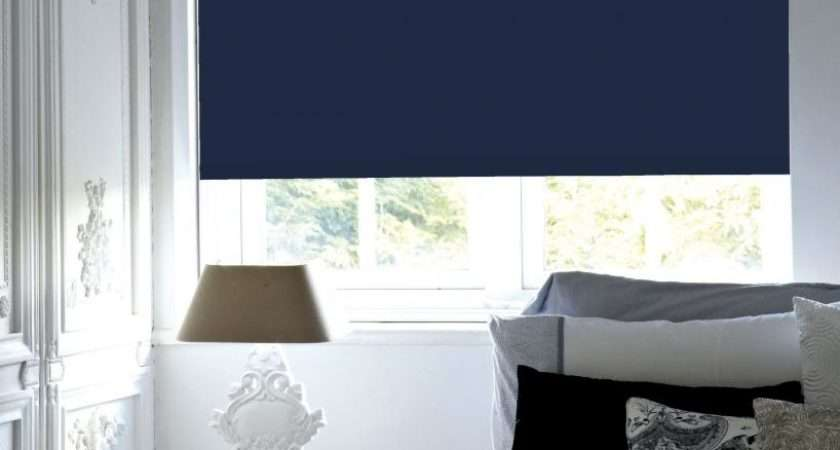 Navy Blue Blackout Roller Blind Blinds Thermal