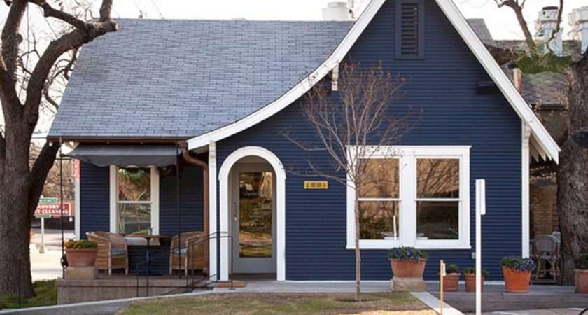 Navy Blue White Trim House Exterior