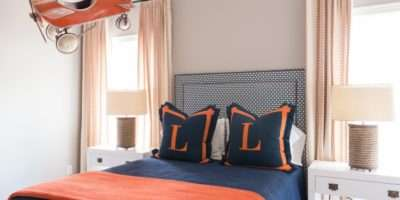 Navy Orange Boys Bedrooms Contemporary Boy Room