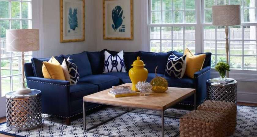 Navy Sectional Transitional Living Room Lillian August