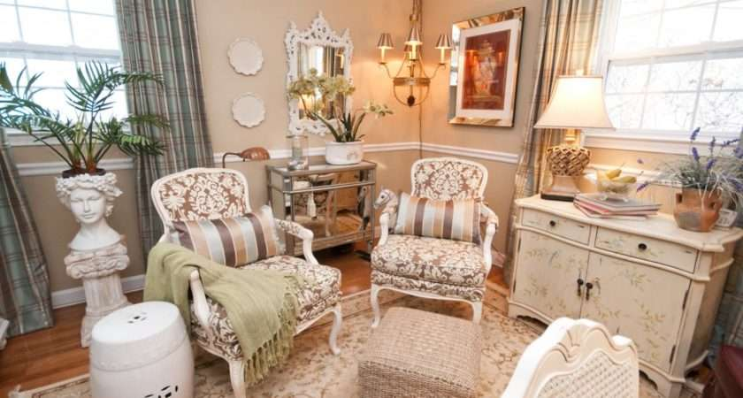 Neutral French Country Sitting Room Damask Patterned Chairs Two