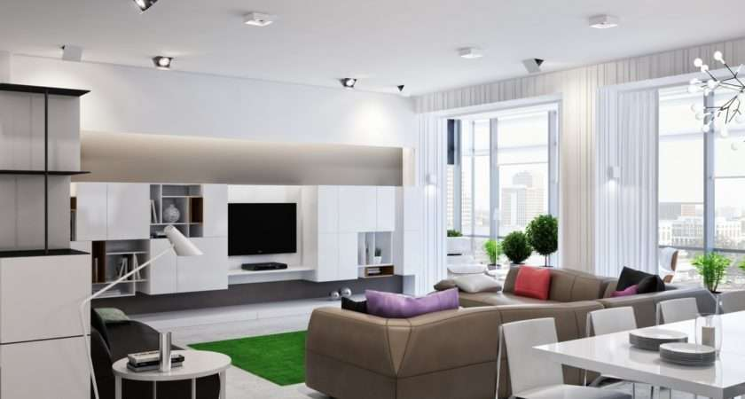 Neutral Open Plan Living Room Interior Design Ideas