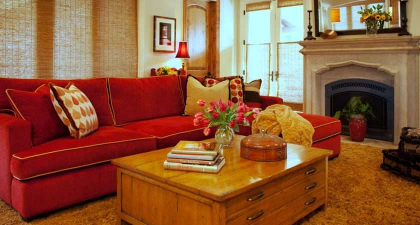 Neutral Transitional Living Room Red Sofa Adds Color