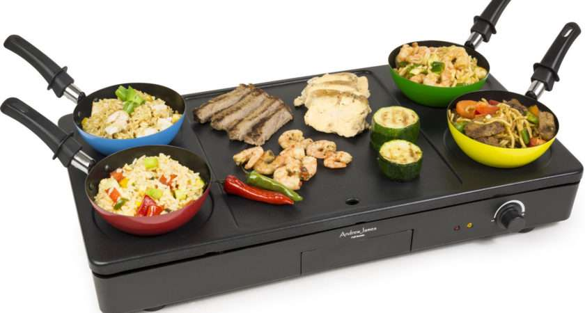 New Andrew James Party Wok Grill Teppanyaki Hot Plate Hob