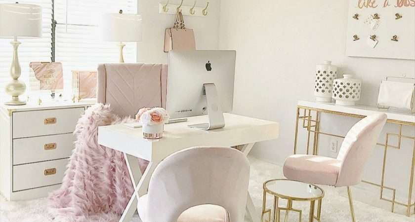New Blush Pink Home Office Tour Youtube