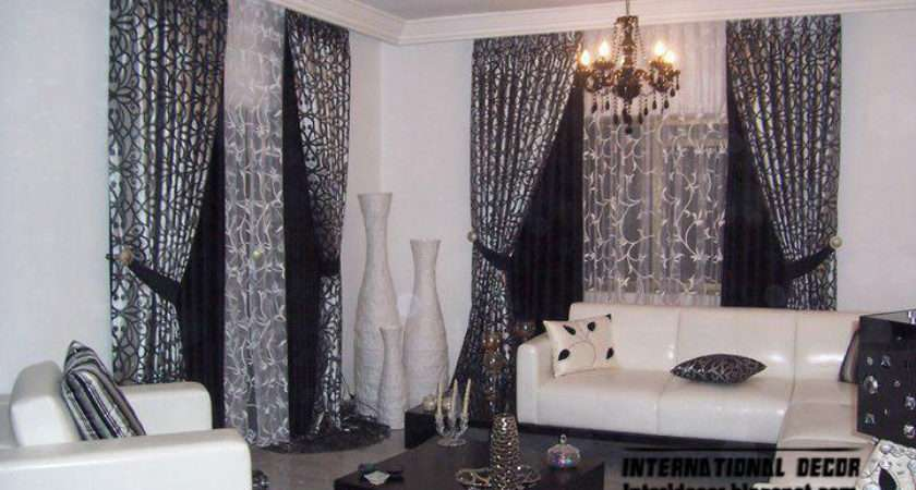 New Design Black Curtain Living Room Blue