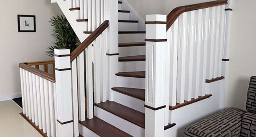 New England Staircase White Black Walnut