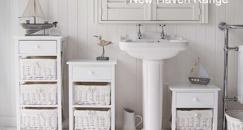 New Haven Tall White Bathroom Cabinet Freestanding Storage