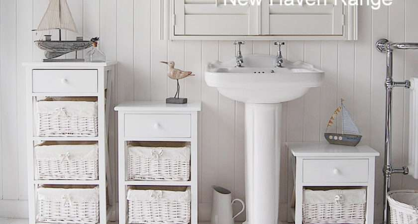 New Haven White Standing Bathroom Cabinets Cottage