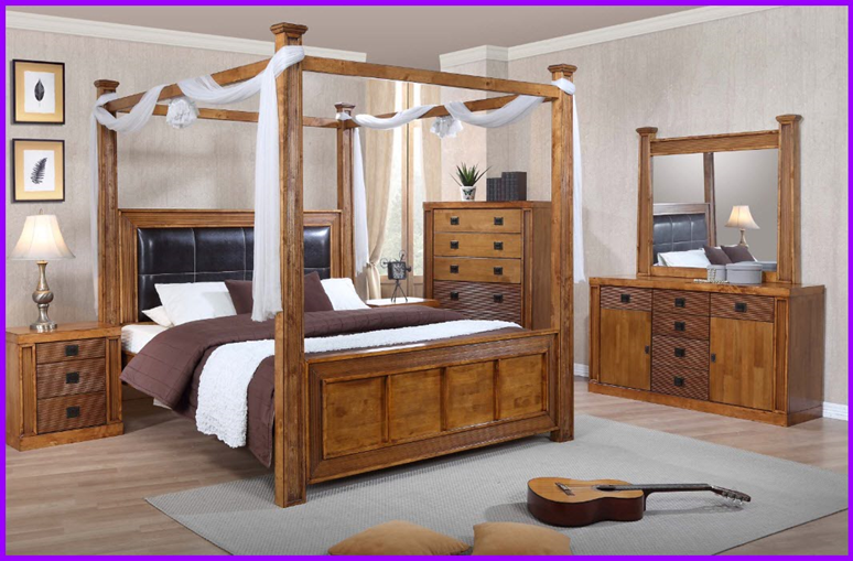 New Queen Bed Hardwood Poster Canopy King