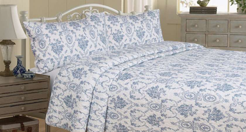 New Toile Jouy Blue Patchwork Bedspread Quilt Comforter