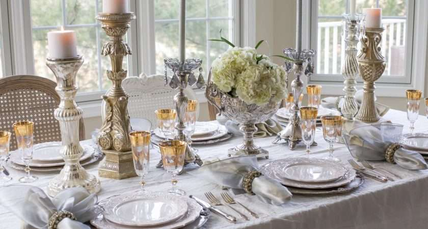New Year Day Brunch Table Setting Mixing Gold Silver
