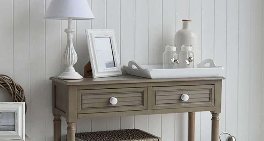 Newport French Grey Console Table New England