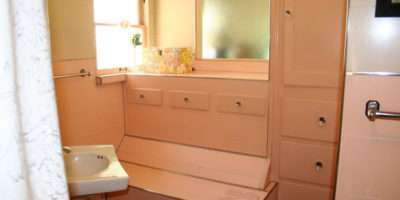 Noelle Bathroom Pink Panel Walls Retro Renovation