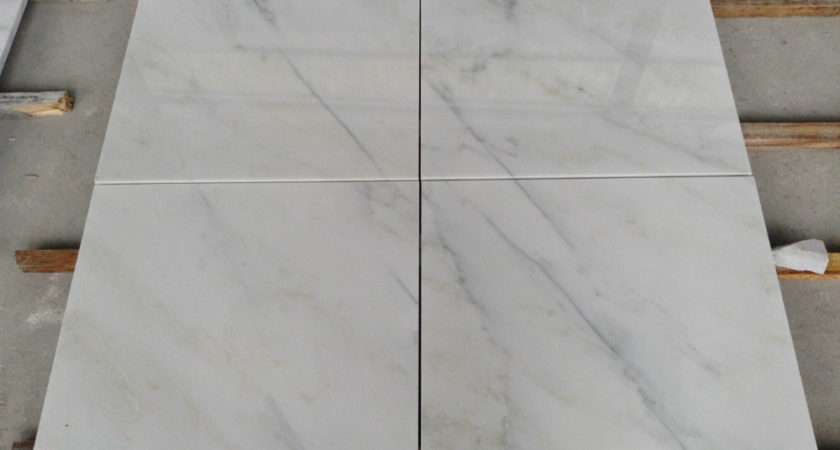 Non Slip White Marble Tile Living Room Bathroom Desig
