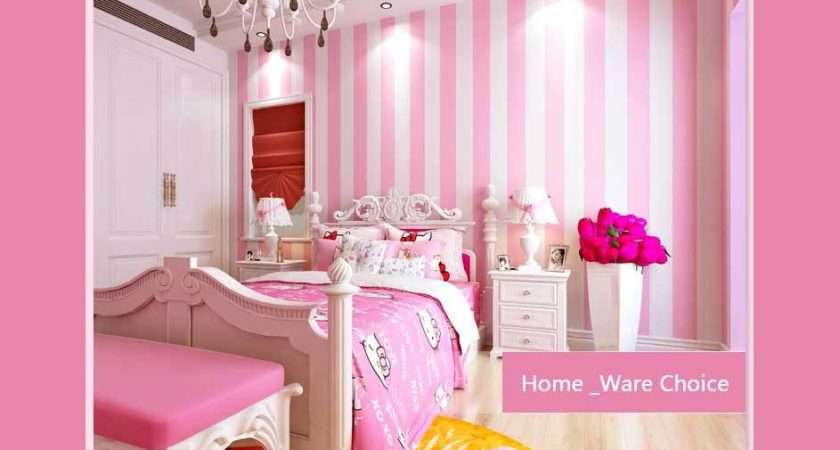 Nursery Baby Pink Room Wall Decoration Striped